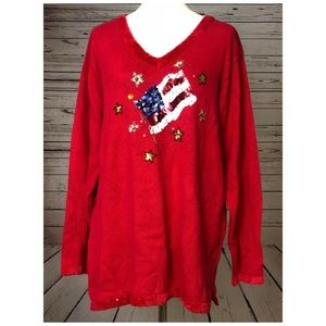 Quacker Factory Large Red Long Sleeve sweater Top